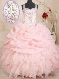 Baby Pink Organza Zipper Straps Sleeveless Floor Length Quinceanera Gowns Beading and Ruffles and Pick Ups