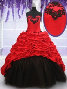 Luxurious With Train Red And Black Sweet 16 Dresses Organza and Taffeta Brush Train Sleeveless Appliques and Pick Ups