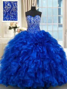 Popular Royal Blue Sleeveless Brush Train Beading and Ruffles With Train Vestidos de Quinceanera
