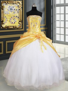 Hot Selling Yellow And White Ball Gowns Organza and Taffeta Strapless Sleeveless Beading and Pick Ups and Hand Made Flower Floor Length Lace Up Sweet 16 Quinceanera Dress