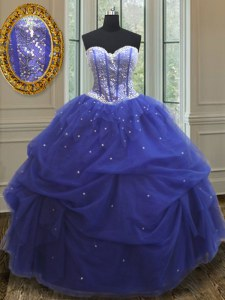 Blue Sweetheart Lace Up Beading and Sequins Sweet 16 Quinceanera Dress Sleeveless