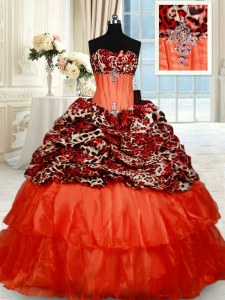 Pretty Orange Red Ball Gowns Organza Sweetheart Sleeveless Beading Lace Up Sweet 16 Dresses Brush Train