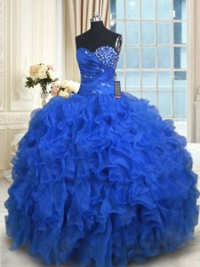 Royal Blue Organza Lace Up Quince Ball Gowns Sleeveless Floor Length Beading and Ruffles