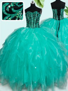 Most Popular Turquoise Lace Up Sweetheart Beading and Ruffles 15 Quinceanera Dress Organza Sleeveless