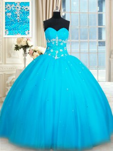Sophisticated Sleeveless Beading Lace Up Quince Ball Gowns