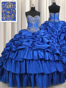 Elegant Sleeveless Taffeta With Brush Train Lace Up Quince Ball Gowns in Royal Blue with Beading and Ruffled Layers and Pick Ups
