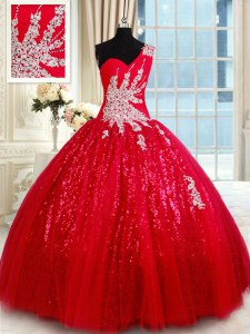 Tulle One Shoulder Sleeveless Lace Up Beading and Appliques Quinceanera Gown in Red