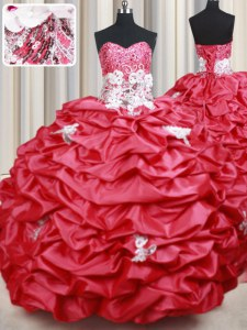 Sleeveless Brush Train Beading and Appliques and Sequins and Pick Ups Lace Up Quince Ball Gowns