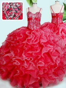 Hot Sale Red Ball Gowns Organza Spaghetti Straps Sleeveless Beading and Ruffles Floor Length Lace Up 15 Quinceanera Dress