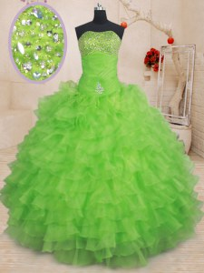 Custom Made Ruffled Ball Gowns Sweet 16 Dresses Strapless Organza Sleeveless Floor Length Lace Up