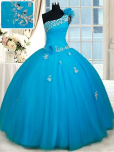 One Shoulder Sleeveless Quinceanera Dress Floor Length Beading and Appliques and Hand Made Flower Baby Blue Tulle