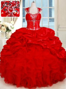 Backless Floor Length Red Quince Ball Gowns Organza and Taffeta Cap Sleeves Ruffles and Pick Ups