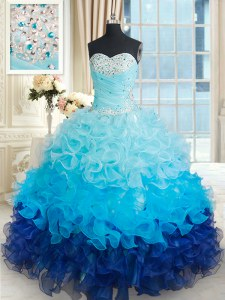 Flare Multi-color Sleeveless Beading and Ruffles Floor Length Quinceanera Dresses