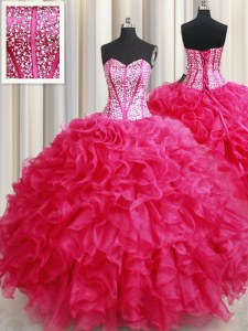 Popular Hot Pink Sweetheart Neckline Beading and Ruffles Ball Gown Prom Dress Sleeveless Lace Up
