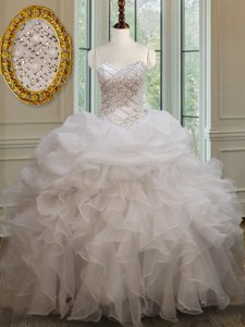 Sweetheart Sleeveless Organza Sweet 16 Quinceanera Dress Beading and Ruffles and Pick Ups Lace Up