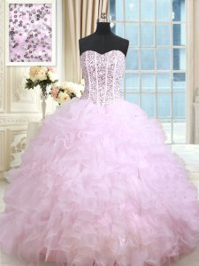 Ruffled Ball Gowns Sweet 16 Quinceanera Dress Lilac Sweetheart Organza Sleeveless Floor Length Lace Up
