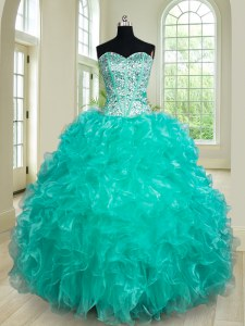 Stunning Floor Length Ball Gowns Sleeveless Turquoise Sweet 16 Quinceanera Dress Lace Up