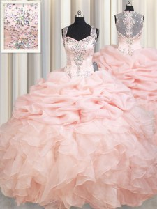 Pink Ball Gowns Organza Straps Sleeveless Beading and Ruffles and Pick Ups Zipper Sweet 16 Quinceanera Dress Brush Train