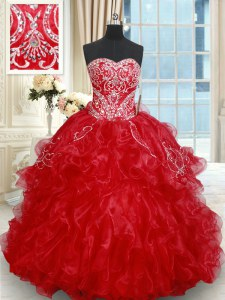 Sleeveless Beading and Embroidery and Ruffled Layers Lace Up Sweet 16 Dresses with Red Brush Train