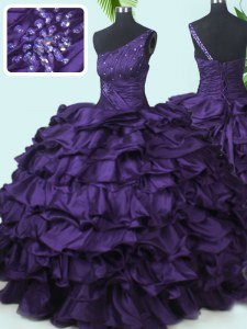 Suitable One Shoulder Purple Sleeveless Floor Length Beading and Pick Ups Lace Up Sweet 16 Quinceanera Dress