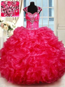 Cap Sleeves Organza Floor Length Backless 15 Quinceanera Dress in Hot Pink with Beading and Ruffles