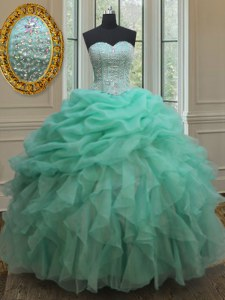 Floor Length Lace Up Sweet 16 Quinceanera Dress Apple Green for Military Ball and Sweet 16 and Quinceanera with Beading and Ruffles and Pick Ups