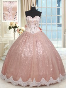 Dramatic Peach Ball Gowns Beading and Lace and Bowknot Sweet 16 Dress Lace Up Tulle Sleeveless Floor Length
