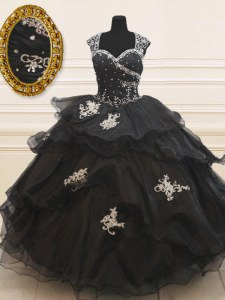 Stylish Black Ball Gowns Strapless Cap Sleeves Organza Floor Length Zipper Beading and Appliques and Ruffles Sweet 16 Dresses