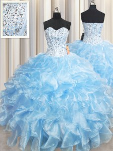 Beautiful Light Blue Organza Lace Up Sweet 16 Dress Sleeveless Floor Length Beading and Ruffles