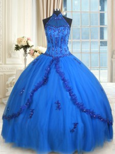 Designer See Through Ball Gowns 15 Quinceanera Dress Blue Halter Top Tulle Sleeveless Floor Length Lace Up