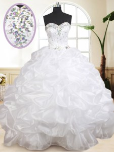Great Organza Sweetheart Sleeveless Lace Up Beading and Pick Ups Sweet 16 Dress in White