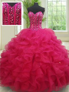 Sumptuous Fuchsia Lace Up Sweetheart Beading and Ruffles Quinceanera Dress Organza Sleeveless
