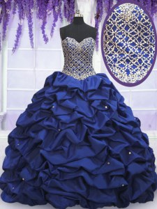 Romantic Beading and Pick Ups Quinceanera Dresses Royal Blue Lace Up Sleeveless Floor Length