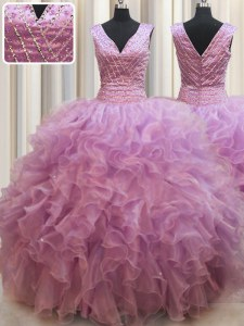 Lilac Ball Gowns Organza V-neck Sleeveless Beading Floor Length Lace Up Ball Gown Prom Dress
