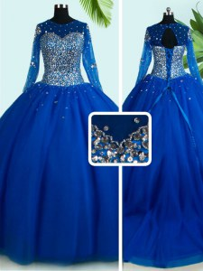 Fashionable Scoop Long Sleeves Tulle 15th Birthday Dress Beading Brush Train Lace Up