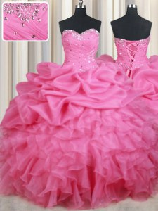 Sleeveless Organza Floor Length Lace Up Vestidos de Quinceanera in Rose Pink with Beading and Ruffles and Pick Ups