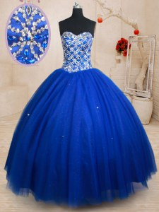 Spectacular Sleeveless Lace Up Floor Length Beading Ball Gown Prom Dress