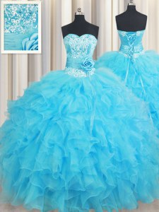 Baby Blue Sweetheart Neckline Beading and Ruffles and Hand Made Flower Quinceanera Dress Sleeveless Lace Up