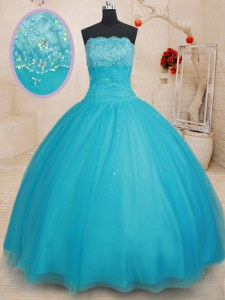 Dazzling Scalloped Tulle Sleeveless Floor Length Quince Ball Gowns and Beading