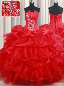 Clearance Red Strapless Lace Up Beading and Pick Ups Sweet 16 Dresses Sleeveless