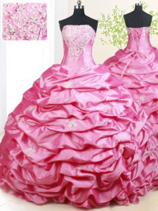 Pick Ups Hot Pink Sleeveless Taffeta Brush Train Lace Up 15 Quinceanera Dress for Military Ball and Sweet 16 and Quinceanera