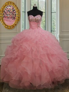 Sleeveless Organza Lace Up 15th Birthday Dress in Baby Pink with Beading and Ruffles and Sequins
