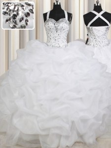 Simple Straps Sleeveless Lace Up Floor Length Beading and Pick Ups 15 Quinceanera Dress