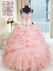 Modest Straps Floor Length Baby Pink Quinceanera Gown Organza Sleeveless Beading and Ruffles and Pick Ups