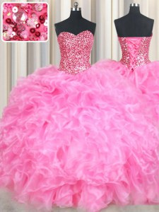 Rose Pink Quinceanera Dresses Military Ball and Sweet 16 and Quinceanera and For with Beading and Ruffles and Sequins Sweetheart Sleeveless Lace Up