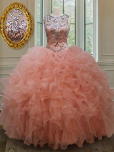 Flare Scoop See Through Sleeveless Lace Up Floor Length Beading and Ruffles 15 Quinceanera Dress