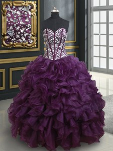 Dark Purple Ball Gowns Sweetheart Sleeveless Organza Floor Length Lace Up Beading and Ruffles Sweet 16 Dresses