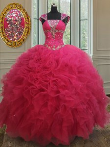 High Quality Square Cap Sleeves Tulle 15th Birthday Dress Beading and Ruffles Lace Up