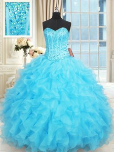 New Style Aqua Blue Lace Up Sweet 16 Quinceanera Dress Beading and Ruffles and Ruffled Layers Sleeveless Floor Length