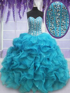 Teal Sleeveless Beading and Ruffles Floor Length Quinceanera Gown